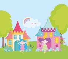 kleine Feen Prinzessin mit goldenen Kronen und Schloss Magie Fantasy Tale Cartoon vektor