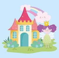 kleine Märchenprinzessin mit Flügeln Burg Regenbogen Wolken Garten Geschichte Cartoon vektor