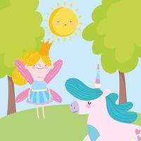 kleine Märchenprinzessin und Einhornwaldbäume Märchenkarikatur vektor