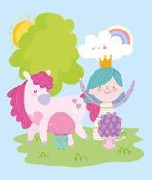 süße kleine Märchenprinzessin mit magischem Einhornpilz und Regenbogenmärchenkarikatur vektor
