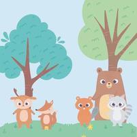 bäverbjörn hjort räv och tvättbjörn djur blommor träd tecknad vektor