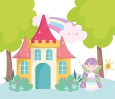 kleine Märchenprinzessin mit Zauberstabschloss und Regenbogenmärchenkarikatur vektor