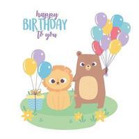 Grattis på födelsedagen, söt liten lejonbjörn med gåva och ballonger firande dekorationstecknad film