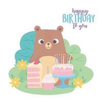 Alles Gute zum Geburtstag, niedlicher Bär mit Kuchenpastete und Cupcake-Feierdekorationskarikatur