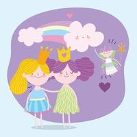süße kleine geflügelte Märchenprinzessin und Mädchen mit Kronen Märchenkarikatur vektor