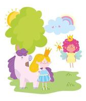 fliegende kleine Märchenprinzessin Mädchen mit Krone und Einhorn Geschichte Cartoon vektor