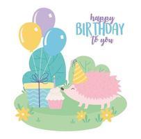 Grattis på födelsedagen, söt igelkott med presentmuffin och ballonger firande dekorationstecknad film