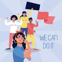 Interracial Frauen protestieren mit Plakat und Flaggen