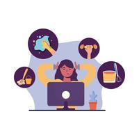 Frau mit Computer und Aktivitätenikonsatzvektordesign