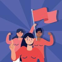 interracial Frauen protestieren mit Fahnen