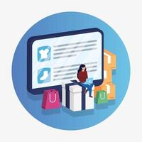 Online-E-Commerce mit Frau mit Laptop und Desktop einkaufen