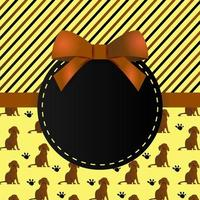 gratulationskort mall design med mönster hund och ränder