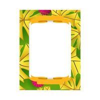realistisk blommig ram fotomall design för utskrift