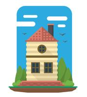 Flaches Familienhaus vektor