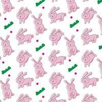 söt tecknad kaninmönsterdesign för tryck och dekoration