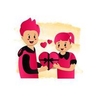 Illustration eines Mannes, der ein Geschenk zu seinem Freundinnenentwurf lokalisiert auf weißem Hintergrund gibt
