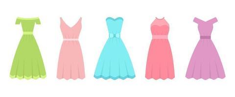klänning i platt design vektor design illustration isolerad på vit bakgrund