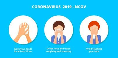 koronavirus covid-19 förebyggande metoder infografiska. vektor