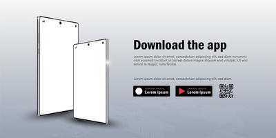 Web-Banner des mobilen Smartphone-Modells mit Werbung zum Herunterladen der App, des QR-Codes und der Schaltflächenvorlage vektor