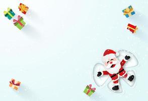 origami papper konst av jultomten som lägger på snön och gör en snöängel, god jul och gott nytt år vektor