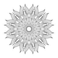 handdrag cirkulär mandala, solmandala. dekorativ prydnad i etnisk orientalisk stil. sida för målarbok.