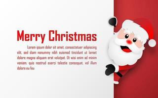 origami papper konst vykort av jultomten med kopia utrymme, god jul och gott nytt år vektor