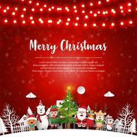 Weihnachtspostkarte von Weihnachtsmann und Freunden im Dorf