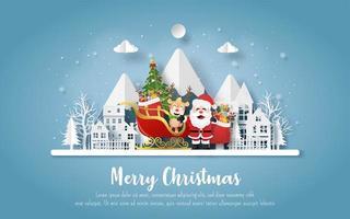 julvykort med jultomten och renar