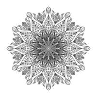 Hand zeichnen kreisförmiges Mandala, Sonnenmandala. dekorative Verzierung im ethnisch orientalischen Stil. Malbuch Seite.