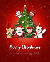 god jul och gott nytt år, jultomten och vänner på julvykortet