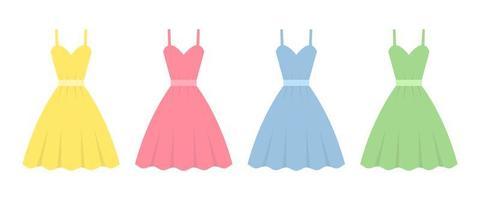 Kleid im flachen Design Vektor-Design-Illustration lokalisiert auf weißem Hintergrund