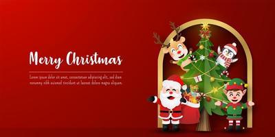 Weihnachtspostkartenbanner von Weihnachtsmann und Freunden mit Weihnachtsbaum