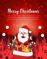 god jul och gott nytt år, julvykort av jultomten med presentpåse i stan