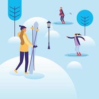 Frauen und Mann im Schneevektorentwurf