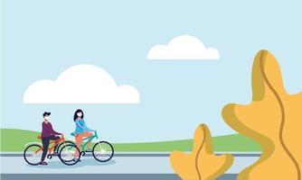 Frau und Mann, die Fahrrad mit Masken am Straßenvektordesign reiten