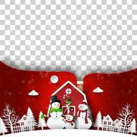 Weihnachtspostkarte des roten Hauses mit Schneemann, Leerzeichen für Ihren Text oder Foto