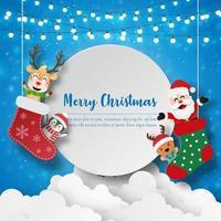 Papierkunst Weihnachtsmann und Freunde in der Weihnachtssocke mit Kopierraum