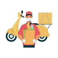 leverans man med mask motorcykel väska och lådor vektor design