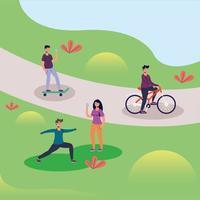 människor på park vektor design