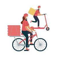 Lieferung Frau und Mann mit Masken Fahrrad und Roller Vektor-Design