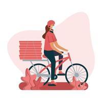 leverans kvinna med mask cykel och lådor vektor design