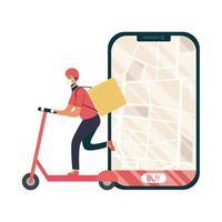 Smartphone mit Lieferkarte und Mann mit Maskenvektordesign
