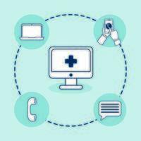 Desktop mit Telemedizin-Technologie und Set-Symbolen