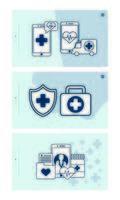 Smartphone mit Telemedizin-Technologie Set Icons