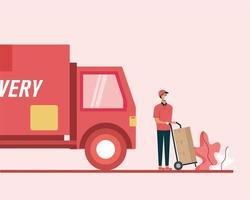 Lieferwagen und Mann mit Kisten auf Wagenvektorentwurf