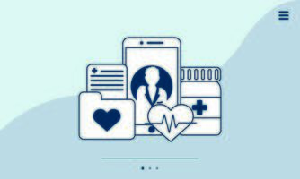 Smartphone mit Telemedizintechnik und medizinischen Symbolen