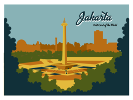 Jakarta Postkarte Vektor