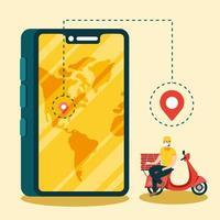 leverans man med mask motorcykel smartphone och lådor vektor design