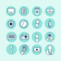 bunt med uppsättning ikoner för telemedicinteknik