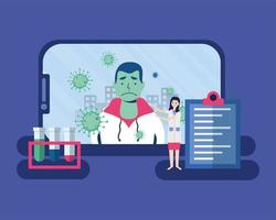 online kvinnlig läkare och sjukklient på smartphone-vektordesign